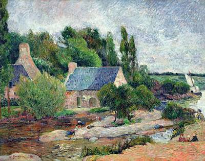 Impressionist Photograph - Washerwomen At Pont-aven, 1886 Oil On Canvas by Paul Gauguin