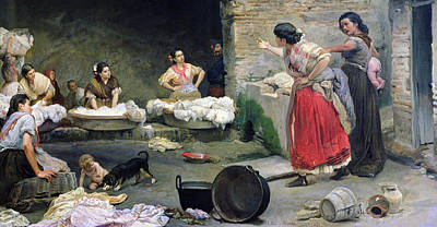Laundry Painting - Washerwomen Disputing by Jose-Jimenes Aranda