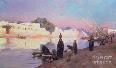 Washerwomen On The Banks Of The Nile Art Print by Eugene Alexis Girardet