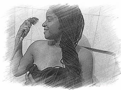 Washing All That Hair Art Print by Fania Simon