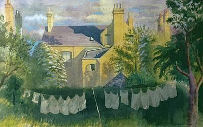Suburban Drawing - Washing At No. 25, Kingston by Osmund Caine
