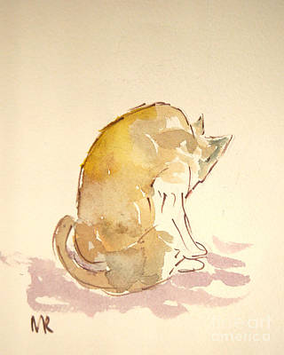 Licking Painting - Washing Cat I by Michelle Reeve