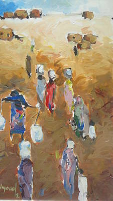 Painting - Washing Day 2 by Negoud Dahab