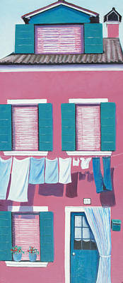 Villa Painting - Washing Day Burano Venice by Jan Matson