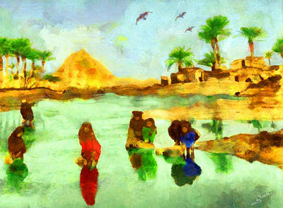 Arabian Painting - Washing In The Nile by George Rossidis