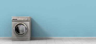 Old-fashioned Digital Art - Washing Machine Empty Single by Allan Swart