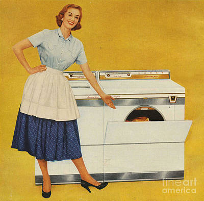 Nineteen-fifties Drawing - Washing Machines 1950s Usa Housewives by The Advertising Archives