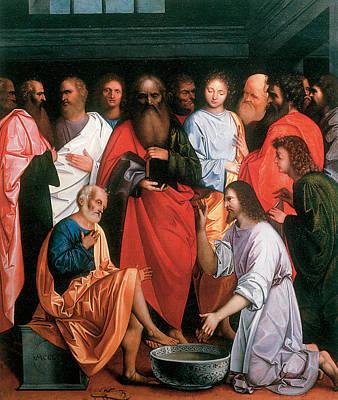 Lodi Painting - Washing Of The Apostles' Feet by Giovanni Agostino da Lodi