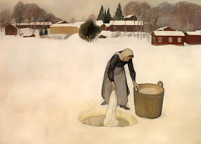 Housewife Painting - Washing On The Ice by Mountain Dreams