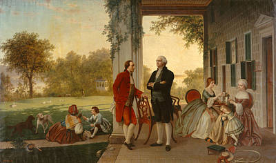 Mount Vernon Painting - Washington And Lafayette At Mount Vernon by Rossiter and Mignot