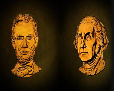 Founding Fathers Digital Art - Washington And Lincoln by David Dehner