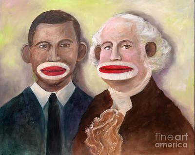 Painting - Washington And Obama As Sock Monkeys by Randy Burns