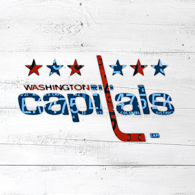 Art Of Hockey Mixed Media - Washington Capitals Retro Hockey Team Logo Recycled District Of Columbia License Plate Art by Design Turnpike