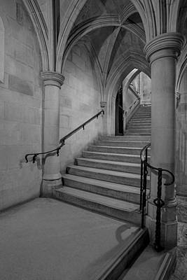 Religious Photograph - Washington Cathedral Staircase Architecture Bw by Susan Candelario