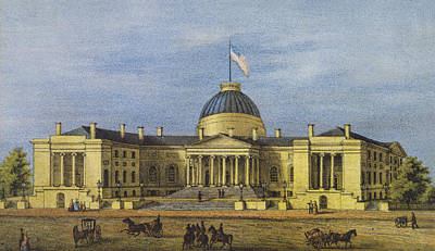 Confederate Flag Drawing - Washington City Hall Circa 1866 by Aged Pixel
