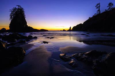 Photograph - Washington Coast Warm Dusk Reflections by Mike Reid