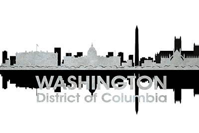 Abstract Skyline Mixed Media - Washington DC 4 by Angelina Tamez