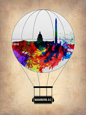 Washington D.c. Air Balloon Art Print by Naxart Studio