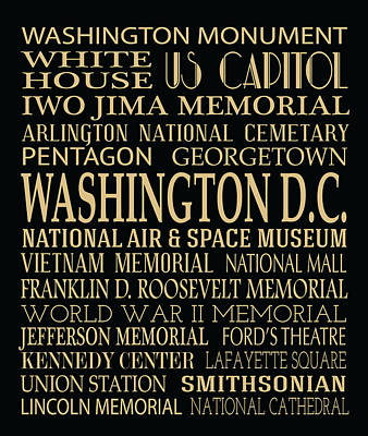 Washington D.c Digital Art - Washington D.c. Attractions by Jaime Friedman