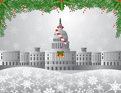 Washington Dc Capitol Christmas Scene Illustration Art Print by JPLDesigns