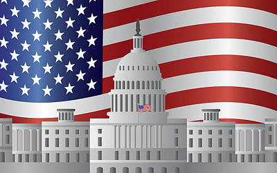 Representative Abstract Photograph - Washington Dc Capitol Us Flag Background by Jit Lim