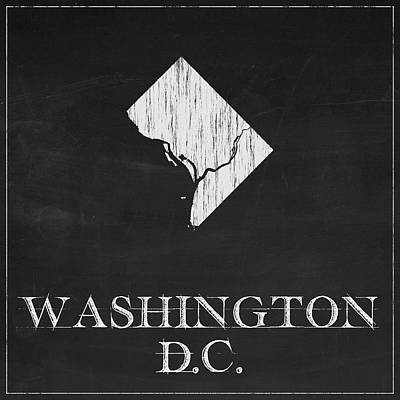 Vintage Map Digital Art - Washington Dc Chalk State Map by Finlay McNevin