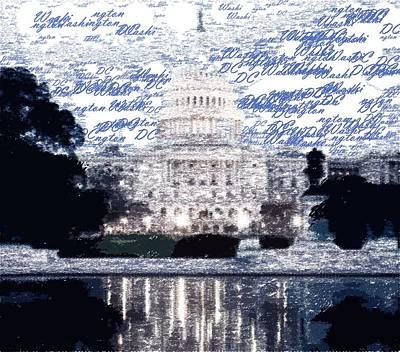 Painting - Washington Dc - Typography by Samuel Majcen