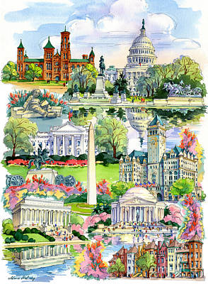 Tourist Attraction Painting - Washington Dc Painting by Maria Rabinky