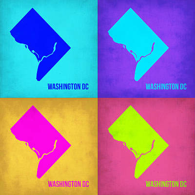Modern Poster Painting - Washington Dc Pop Art Map 1 by Naxart Studio