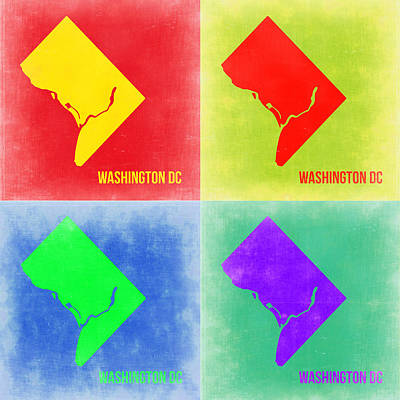Washington Dc Digital Art - Washington Dc Pop Art Map 2 by Naxart Studio