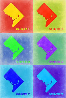 Dc Painting - Washington Dc Pop Art Map 3 by Naxart Studio