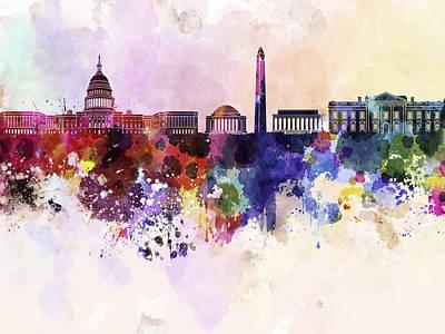 Splatter Digital Art - Washington Dc Skyline In Watercolor Background  by Pablo Romero