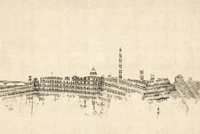 Washington Digital Art - Washington Dc Skyline Sheet Music Cityscape by Michael Tompsett
