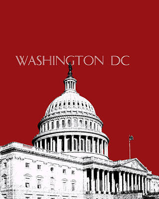 Washington Dc Skyline The Capital Building -  Dk Red Art Print by DB Artist
