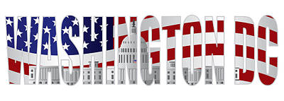 Representative Abstract Photograph - Washington Dc Text Outline Capitol Us Flag by Jit Lim