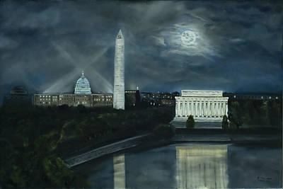 Lincoln Memorial Painting - Washington Dc Under Moonlight by Brandon Hebb
