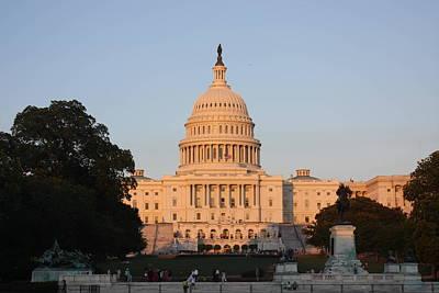 Illuminated Photograph - Washington Dc - Us Capitol - 011313 by DC Photographer