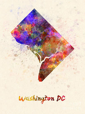 Cartography Painting - Washington Dc Us State In Watercolor by Pablo Romero