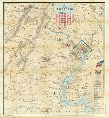 Washington Dc Mixed Media - Washington Dc Virginia 1862 Map by Dan Sproul