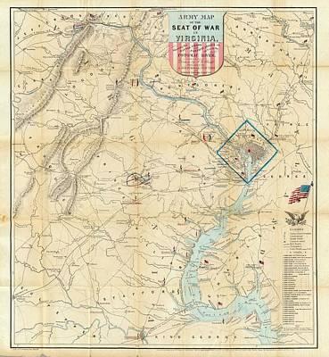 Battlefield Mixed Media - Washington Dc Virginia 1862 Map by Dan Sproul