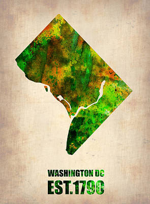 City Map Digital Art - Washington Dc Watercolor Map by Naxart Studio