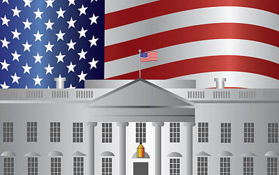 Representative Abstract Photograph - Washington Dc White House Us Flag Background by Jit Lim
