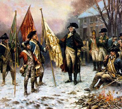 Washington Inspecting The Captured Colors Art Print by Percy Moran