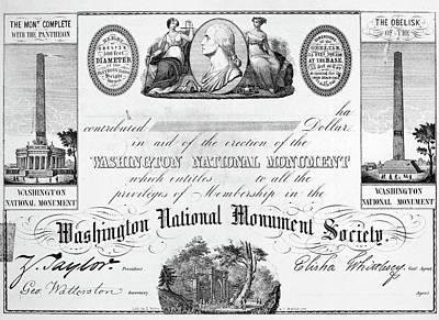 Washington Monument Painting - Washington Monument, 1850 by Granger