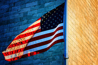 Photograph - Washington Monument And American Flag by Celso Diniz