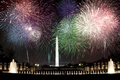 Washington Monument And Wwii Memorial Under Fireworks  Art Print by Regina  Williams
