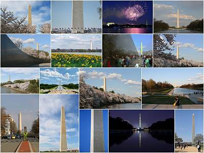 Washington Monument Collage 2 Art Print by Allen Beatty