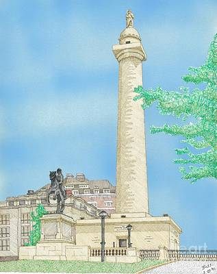 Washington Monument In Baltimore Art Print by Calvert Koerber