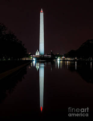 Photograph - Washington Monument Nite Reflection by Nick Zelinsky