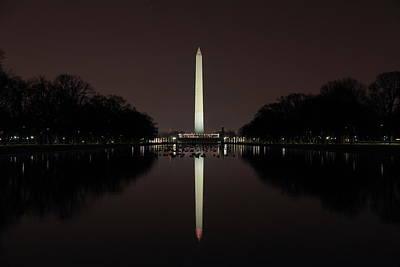 Washington Monument Reflections At Night Art Print